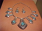 RIVERAS BISBEE TURQUOISE NECKLACE AND EARRINGS
