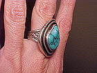WHITE HOGAN SHOP STERLING TURQUOISE RING