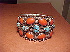 SPECTACULAR NAVAJO 1950'S CORAL TURQUOISE CUFF