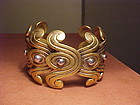 EARLY LOS CASTILLO STERLING CUFF WITH GOLD WASH