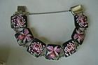 Fine Toshikane Arita Porcelain Sterling Floral Bracelet