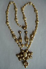 Elegant Miriam Haskell  Glass & Rhinestone Necklace Set