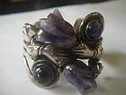 Mexican Sterling Silver Amethyst Tulip Cuff Bracelet