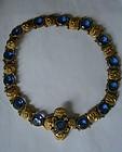 Antique Czech Blue Glass Gilt Necklace or Belt