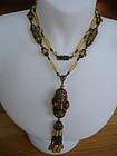 Fine Czech Glass & Enamel Sautoir Necklace