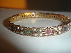 Antique 10K Gold Bangle Bracelet ~ Ruby Sapphire Pearl