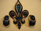 Crown Trifari L'Orient Fleur-de-Lis Brooch & Earrings