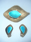 Tostrup Norway Sterling Enamel Brooch Set