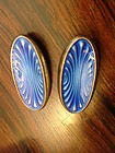 Norway Sterling Guilloche Enamel Modernist Earrings