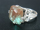 Vintage HUGE Cushion Cut Czech SAPHIRET Ring 14.5mm