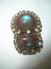 Vintage Sterling Silver Saphiret Glass Fur Clip Brooch