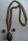 Crown Trifari Poured Glass Pendant Necklace Set