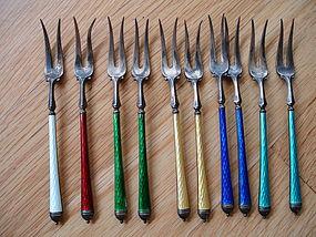 Early David Andersen Norway Sterling Enamel Forks