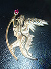 Salvador Dali 14K Gold Ruby Fantasy Brooch