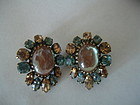 Vintage Regency Saphiret Rhinestone Earrings