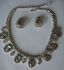 Vintage HOBE signed SAPHIRET Glass Bib Necklace Set