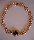 Vintage Ciner Jeweled 2 Strand Pearl Necklace Runway