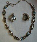 Estate Saphiret & Rhinestone Necklace and Earrings Set