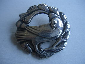 Georg Jensen Denmark Sterling Silver Dove Brooch 123