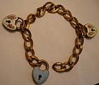 Vintage Guilloche Enamel Padlock Heart Charm Bracelet