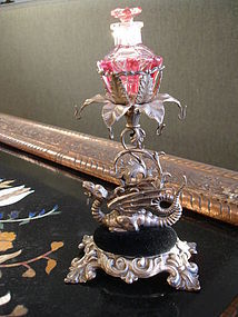 800 Silver  Dragon Perfume Bottle Dresser Stand 1880