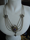 Austo Hungarian 800 Silver Festoon Necklace Amethyst