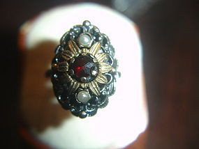 Antique Austro Hungarian Garnet Pearl 800 Silver Ring