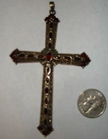 HUGE Sterling Silver Garnet Cross Pendant  4 Inches +