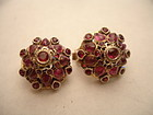 Vintage Ruby & Gold Thai Asian Princess Harem Earrings