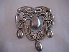 Scandinavian Silver Skonvirke Brooch Silver Pearls