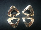 Vintage Modernist Ed Levin 14k Gold Drop Earrings