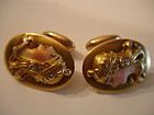 Art Nouveau 14K Gold Enamel Alling Co Cufflinks Diamond