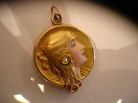 Art Nouveau Byzantine Alling  14K Enamel Diamond Locket