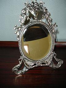 Antique Scandinavian 830 Silver Neoclassic Frame Mirror