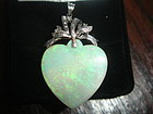 Large Vintage 18K White Gold Carved Opal Heart Pendant