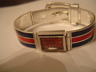 GUCCI Sterling Silver Enamel Buckle Bracelet Watch !!!