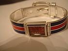 GUCCI Sterling Silver Enamel Buckle Bracelet Watch !!!