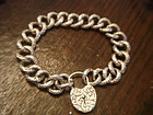 Victorian Engraved Heart Padlock Charm Bracelet