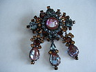 Austrian Saphiret Rhinestone Dangle Brooch