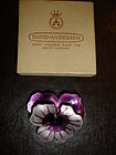 David Andersen Norway Sterling Silver Enamel Pansy Pin