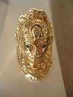 Huge Egyptian Revival 18K Gold Cleopatra Ring Jeweled 19.6 grams Sz 9