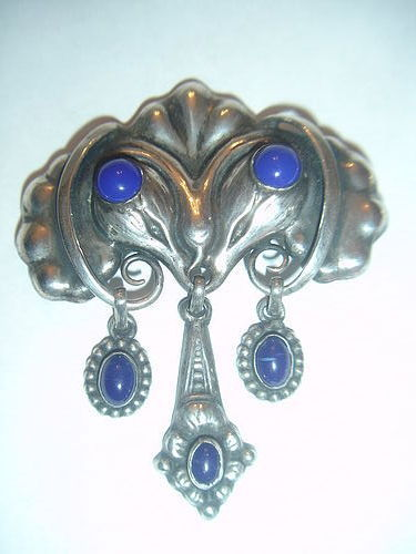 William Fuglede Denmark Skonvirke 830 Silver Brooch with Lapis