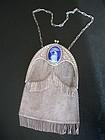 Antique 800 Silver Mesh Purse Enamel Swan Germany