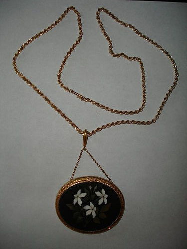 Large Antique Pietra Dura Necklace Set in 14K Gold