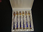 Danish Sterling Enamel Fork Set in Box