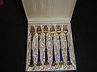 Danish Sterling Enamel Fork Set in Box
