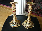 FABULOUS Vintage Czech Jeweled Brass Candlesticks