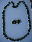 Miriam Haskell Green Peking Glass Necklace Earrings