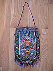 Huge German Beaded Purse 800 Silver Cherub Frame