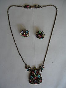 Hollycraft Pastel Rhinestone Necklace and Earrings